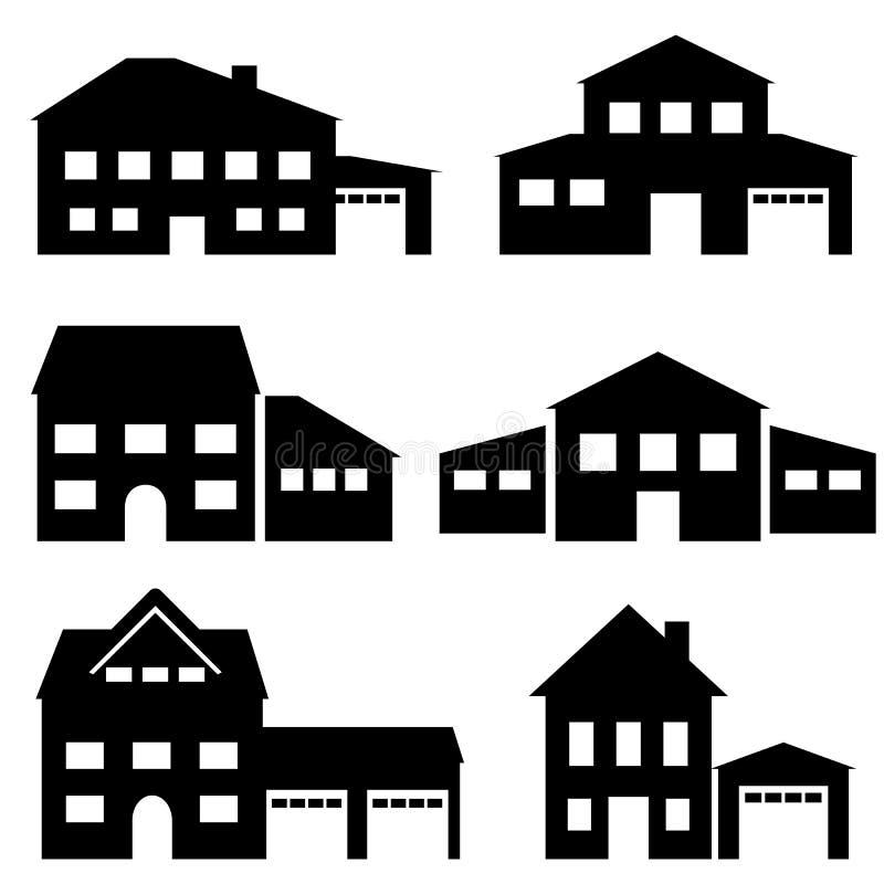Значки дома, архитектуры и недвижимости иллюстрация вектора