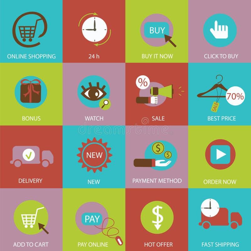 Значки онлайн покупок плоские бесплатная иллюстрация