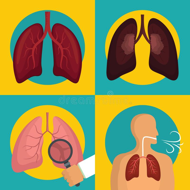 Значки органа легкего человеческие дышая установили плоский стиль иллюстрация вектора
