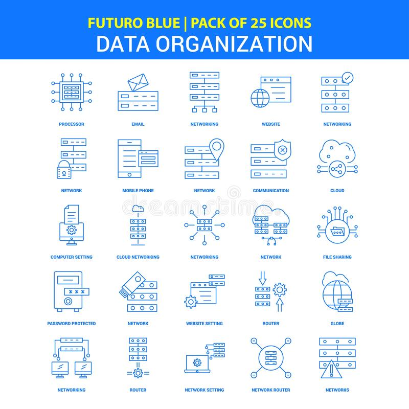 Значки организации данных - пакет 25 значков Futuro голубой иллюстрация вектора