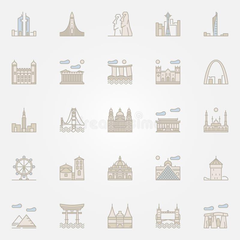 Значки ориентир ориентиров мира красочные бесплатная иллюстрация