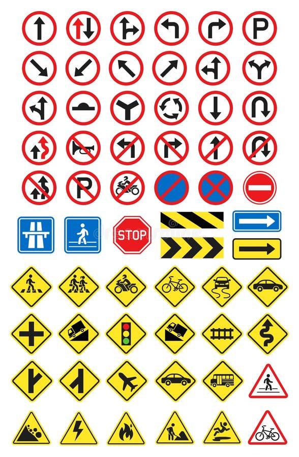 Значки дорожных знаков также вектор иллюстрации притяжки corel иллюстрация вектора
