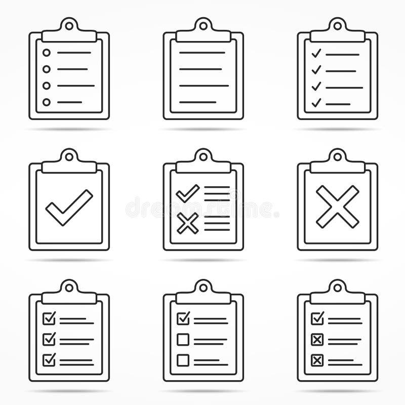 Значки доски сзажимом для бумаги иллюстрация вектора