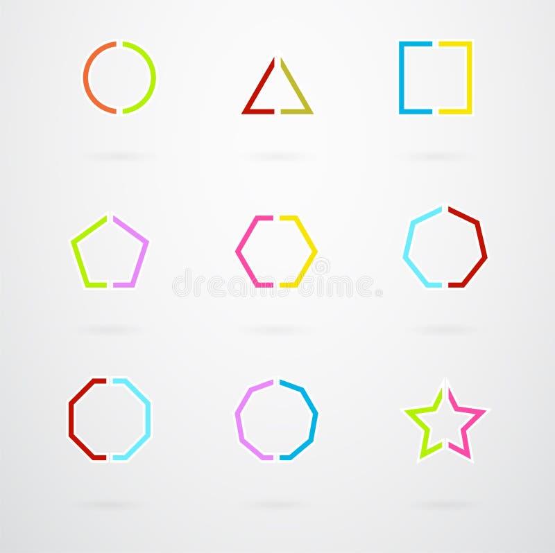 Значки основного геометрического вектора форм ретро иллюстрация штока