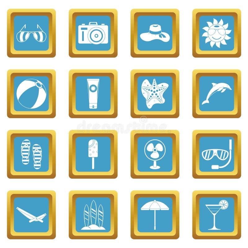 Значки остатков лета лазурные бесплатная иллюстрация