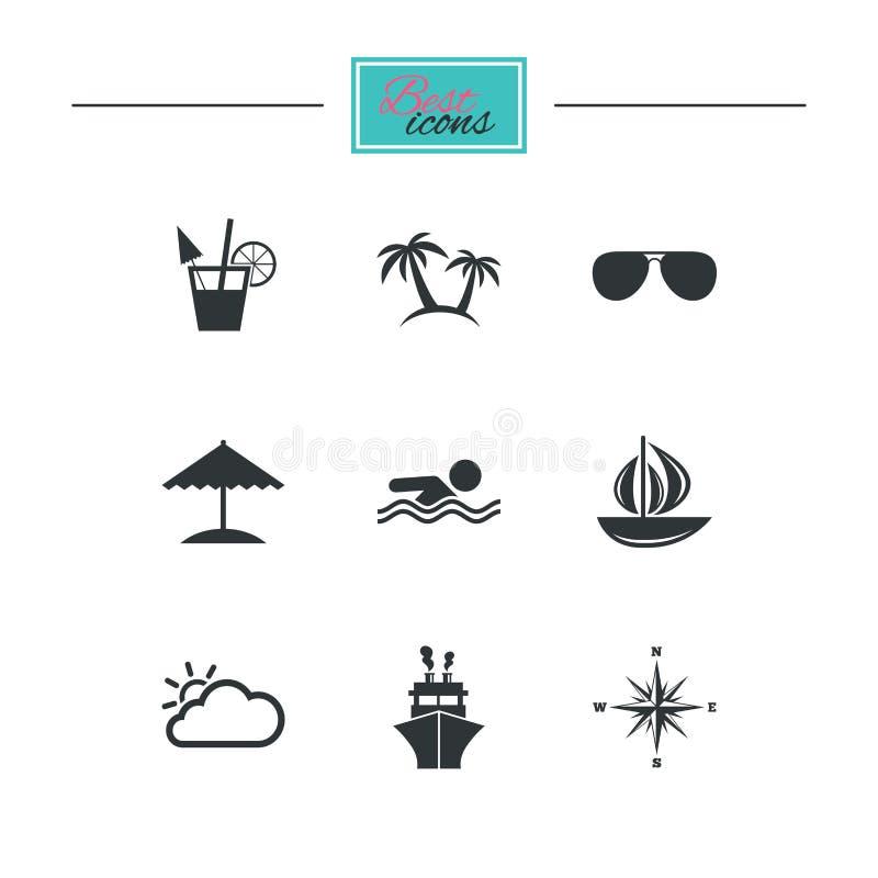 Download Значки отключения, корабля и яхты круиза Знаки перемещения Иллюстрация вектора - иллюстрации насчитывающей солнце, заплывание: 81805673