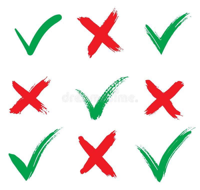 Значки отметок принимать и отклонять Изолировано на белом фоне Иллюстрация вектора Знаки кистей и кросс-кисти иллюстрация вектора