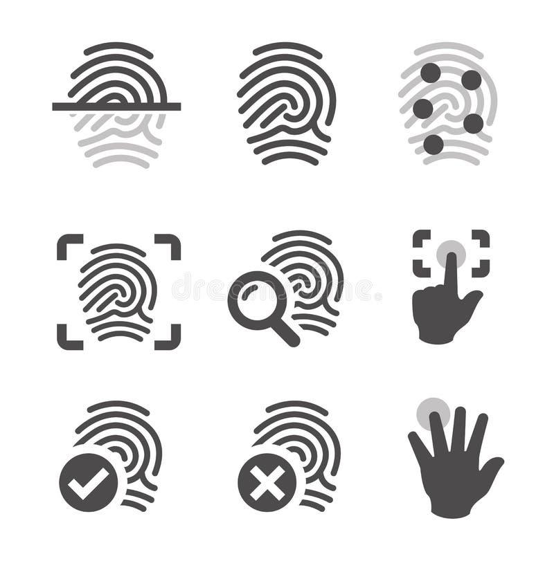 Значки отпечатка пальцев иллюстрация вектора