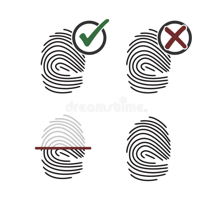 Значки отпечатка пальцев иллюстрация штока