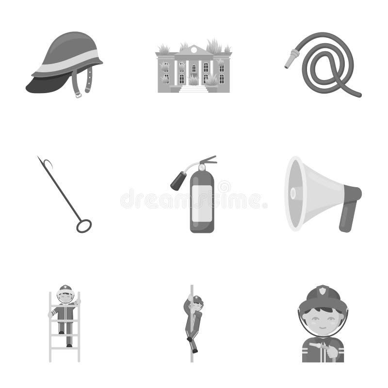 Значки отделения пожарной охраны установленные в monochrome стиле Большое собрание иллюстрации запаса символа вектора отделения п бесплатная иллюстрация
