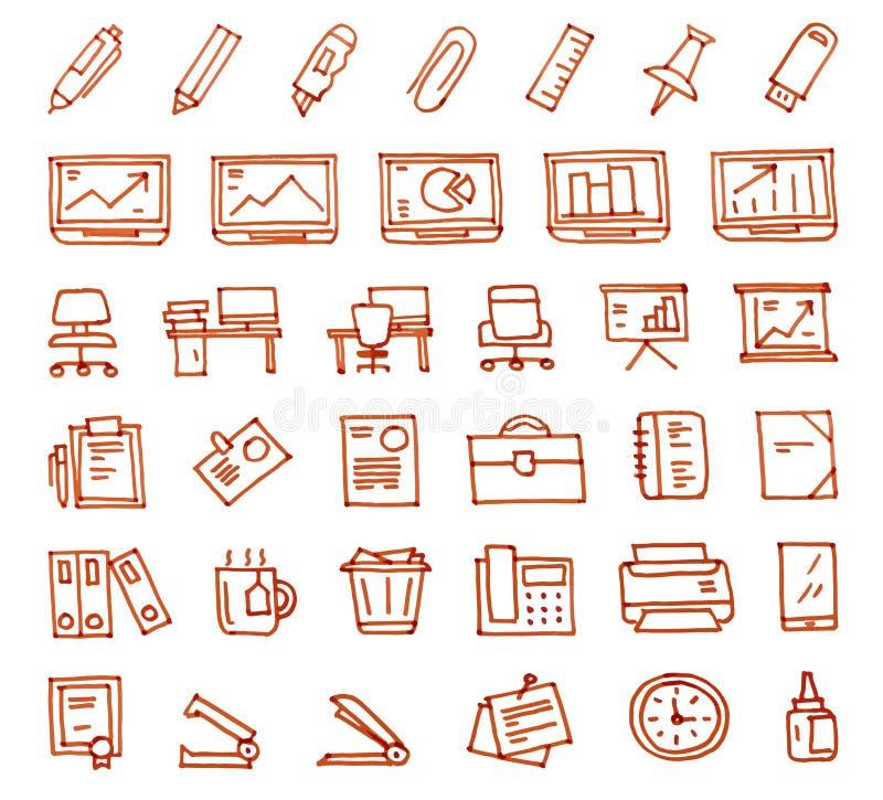 Значки офиса 36 нарисованные рукой нарисованные с ручкой войлок-подсказки бесплатная иллюстрация