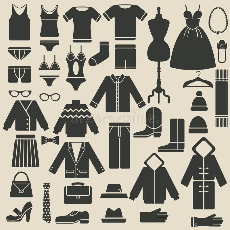 Download Значки одежды иллюстрация вектора. иллюстрации насчитывающей платье - 33725102