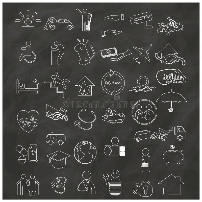 Значки о типах страхования, нарисованных вручную иллюстрация вектора