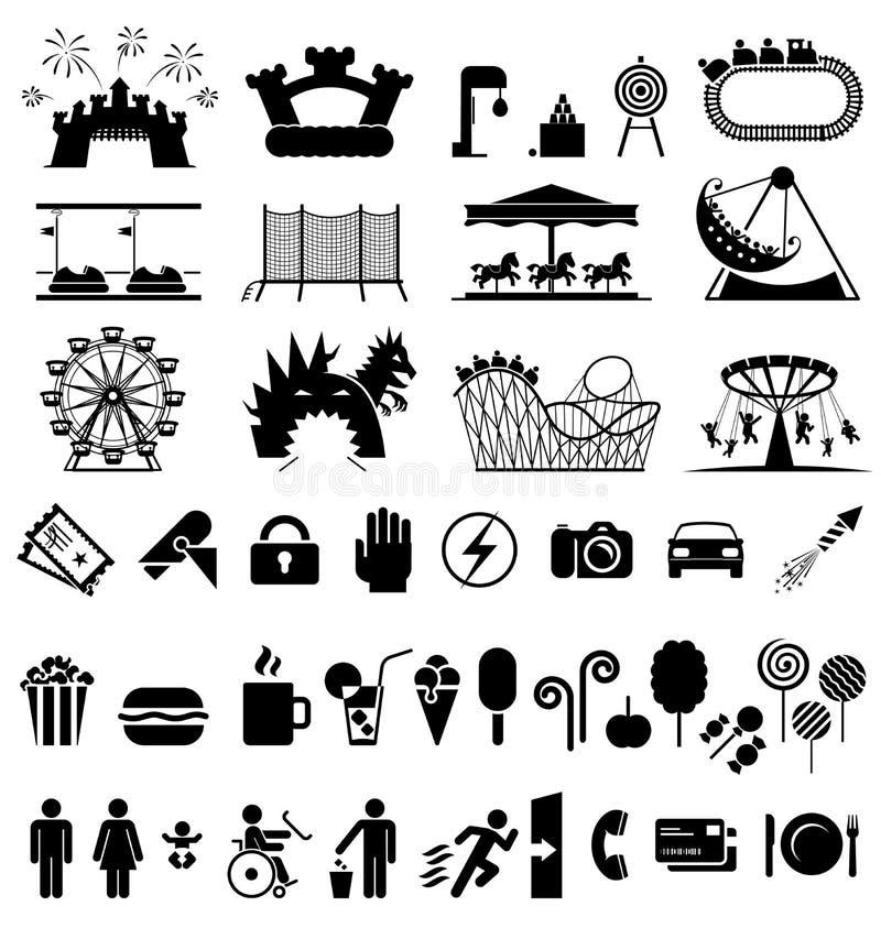 Значки парка атракционов иллюстрация штока