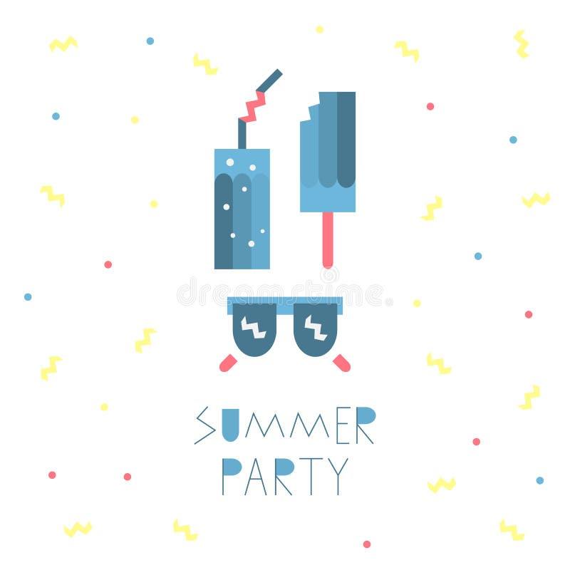 Значки партии лета геометрические, элементы для дизайна Солнечные очки, мороженое, коктеиль Иллюстрация вектора плоская бесплатная иллюстрация