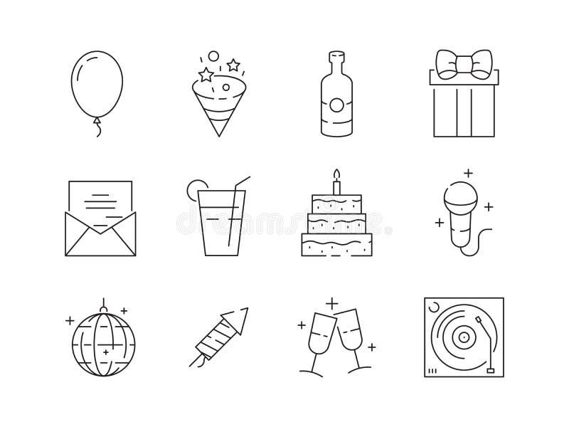 Значки партии тонкие Изолированные символы вектора шариков и тортов партии развлечений потехи дня рождения торжества события лине иллюстрация штока