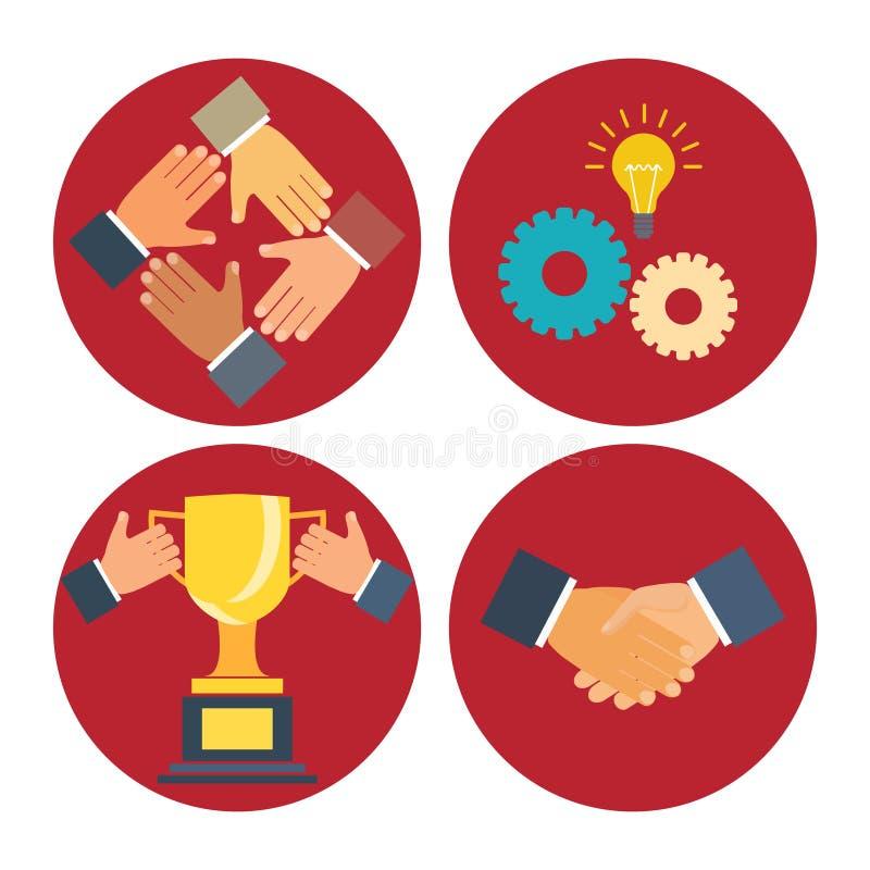 Значки партнерства и сотрудничества иллюстрация вектора