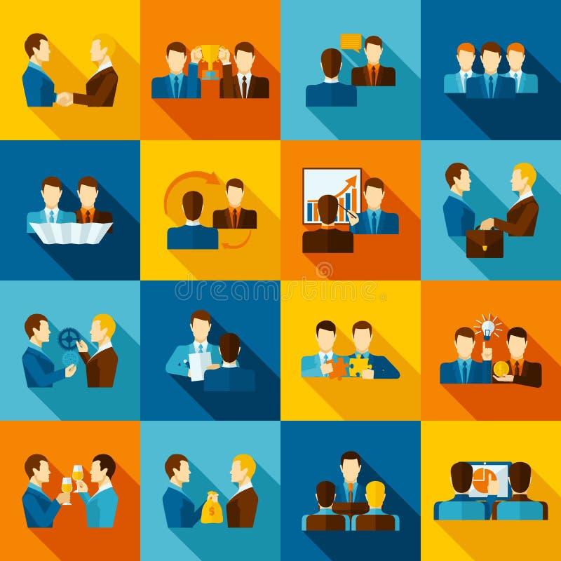 Значки партнерства плоские иллюстрация штока