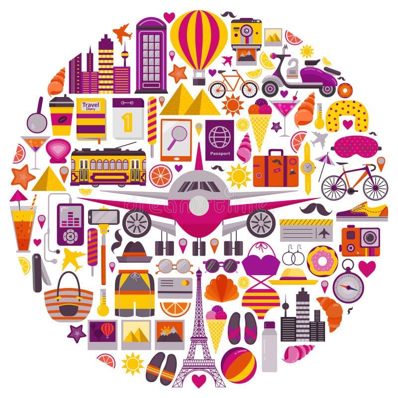 Значки перемещения лета в форме круга бесплатная иллюстрация