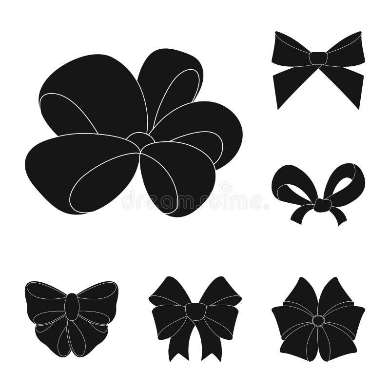 Значки пестротканых смычков черные в собрании комплекта для дизайна Обхватывайте для иллюстрации сети запаса символа вектора укра иллюстрация штока