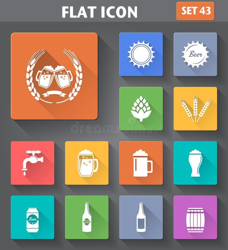 Значки пива применения вектора установили в плоский стиль иллюстрация вектора