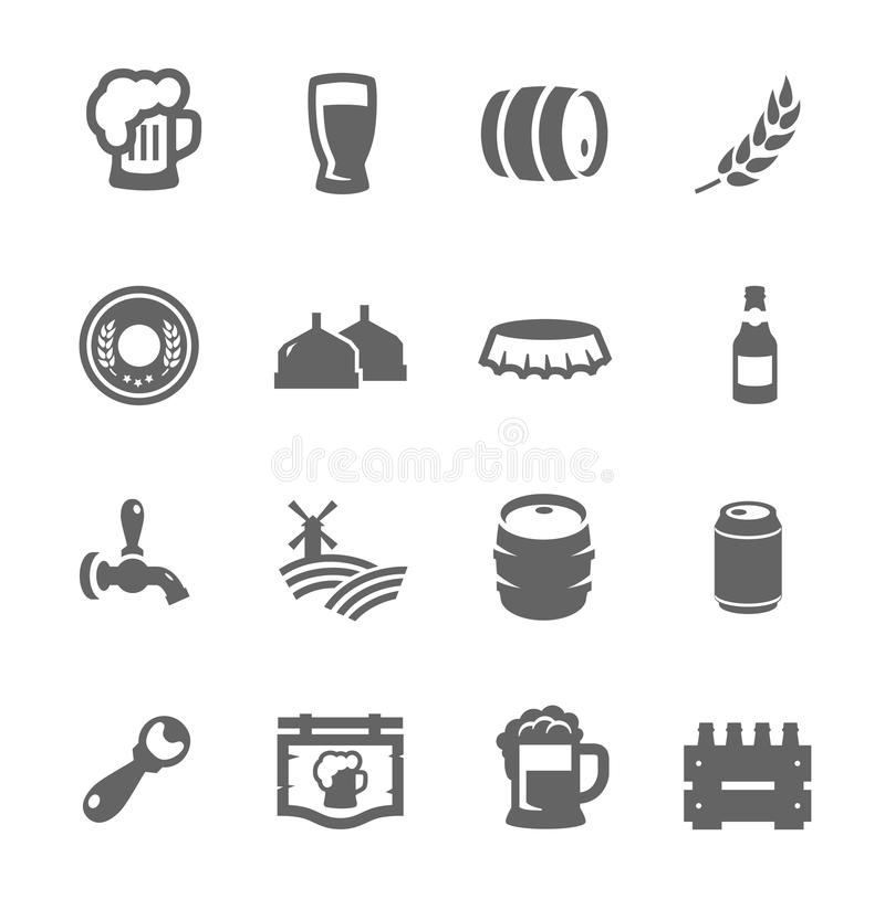 Значки пива иллюстрация штока