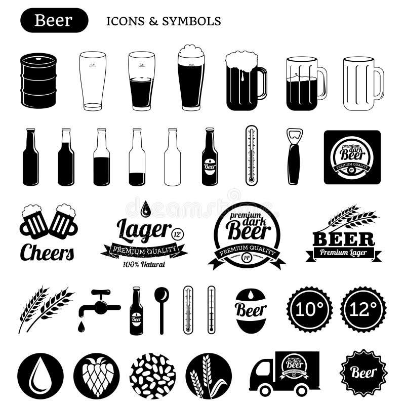 Значки пива иллюстрация вектора