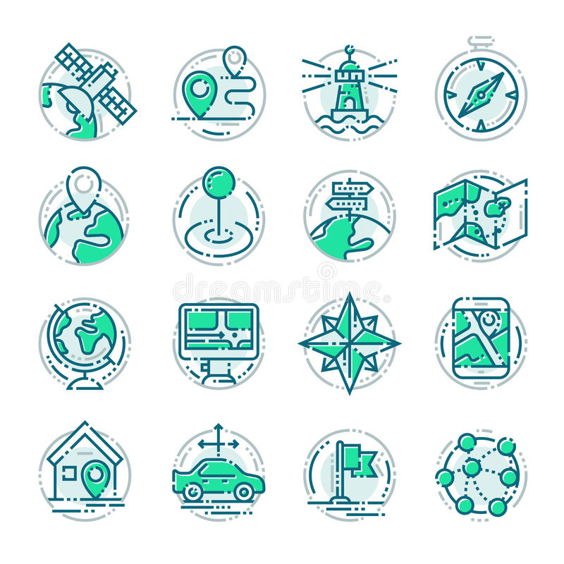 Значки пиктограммы штыря положения плана навигации утончают иллюстрацию вектора знака бесплатная иллюстрация