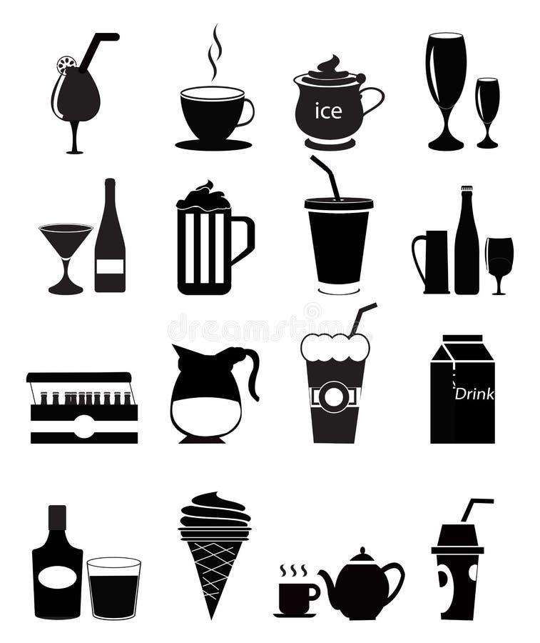 Значки питья иллюстрация вектора