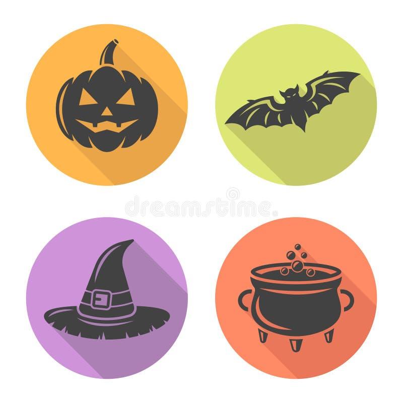 Значки плоского дизайна хеллоуина круглые с длинной тенью иллюстрация вектора