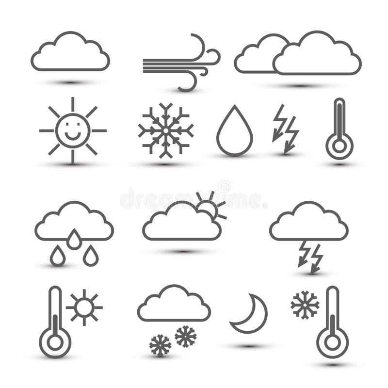Значки погоды изолированные на белой предпосылке иллюстрация вектора