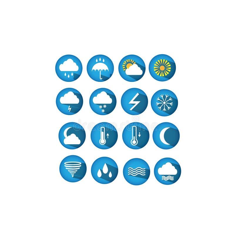 Значки погоды сети вектора для пользы интернета иллюстрация штока