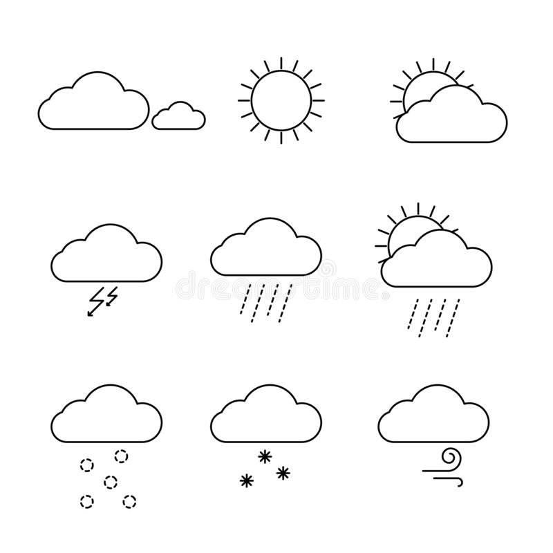 Значки погоды установили вектор Символы облаков, солнца и дождя плана иллюстрация вектора