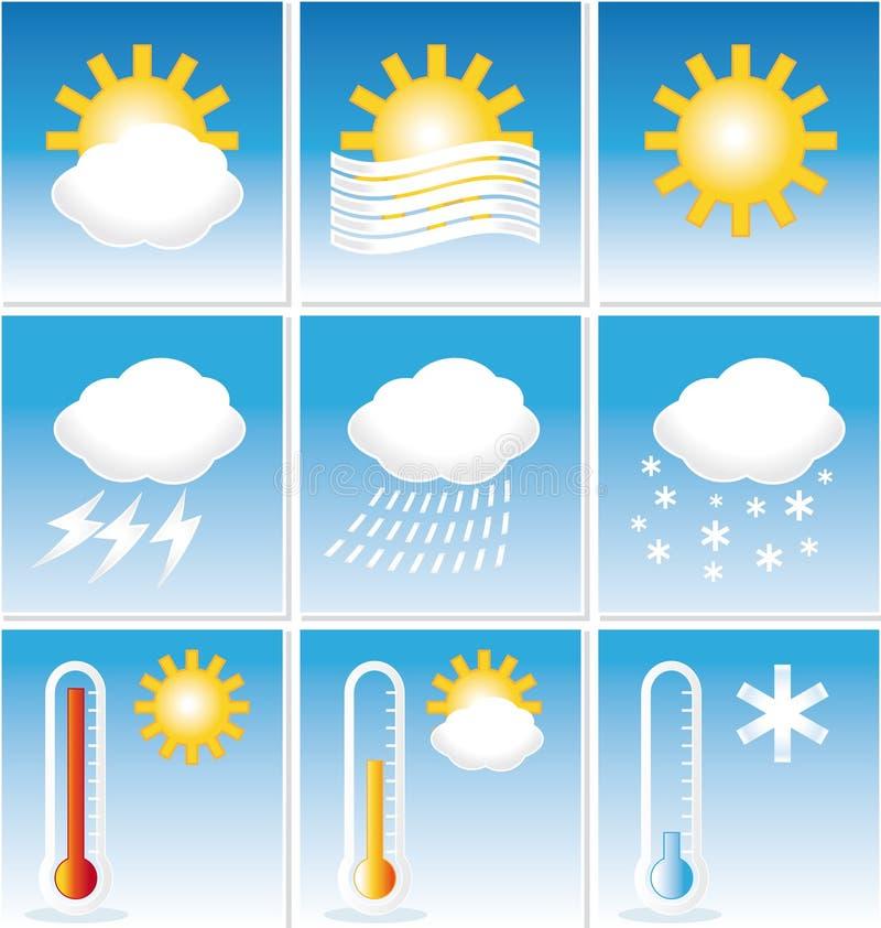 Значки погоды. иллюстрация штока