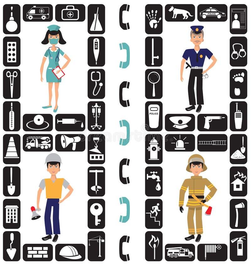 Значки пожарного, построителя, сотрудник военно-медицинской службы и полиции бесплатная иллюстрация