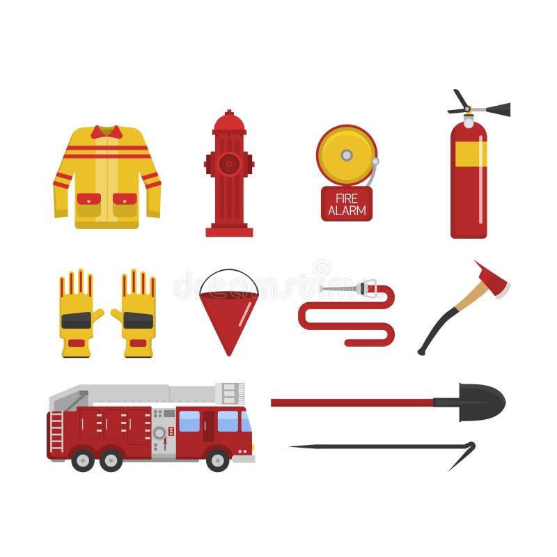 Значки пожарной безопасности пожарного вектора установленные иллюстрация вектора