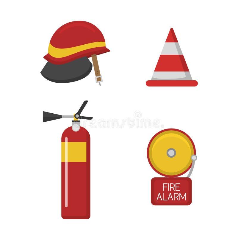 Значки пожарной безопасности пожарного вектора установленные иллюстрация штока