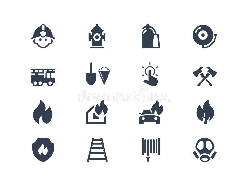 Значки пожарных иллюстрация вектора