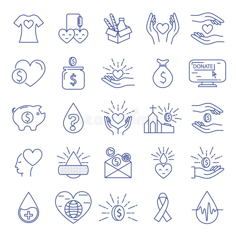 Значки пожертвования и призрения бесплатная иллюстрация