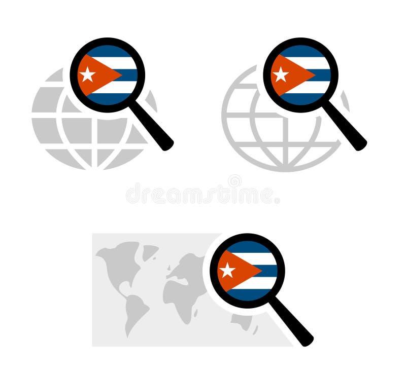 Значки поиска с кубинским флагом иллюстрация штока