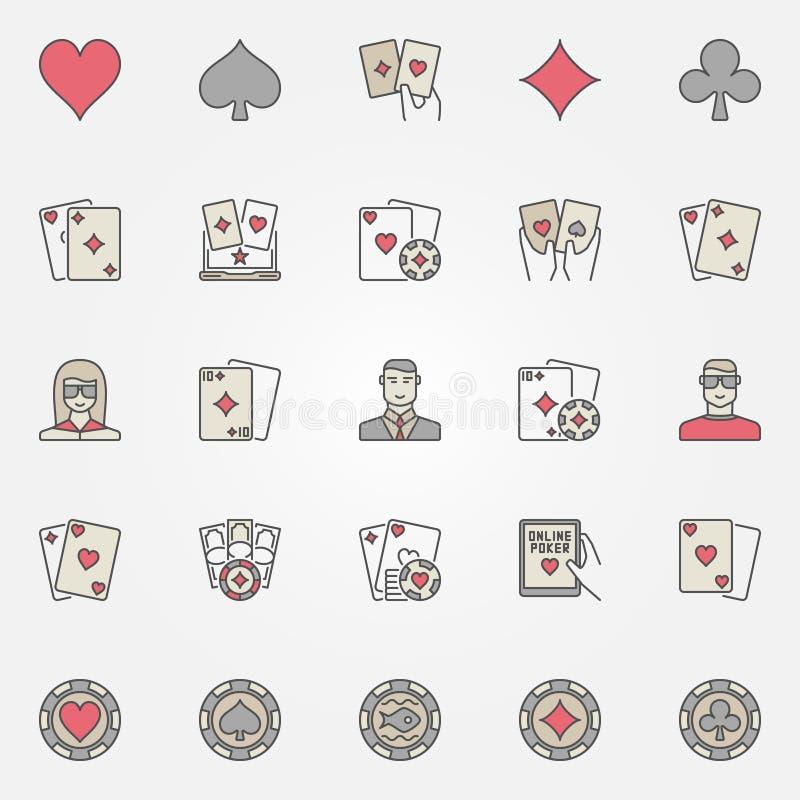 Значки покера holdem Техаса иллюстрация вектора
