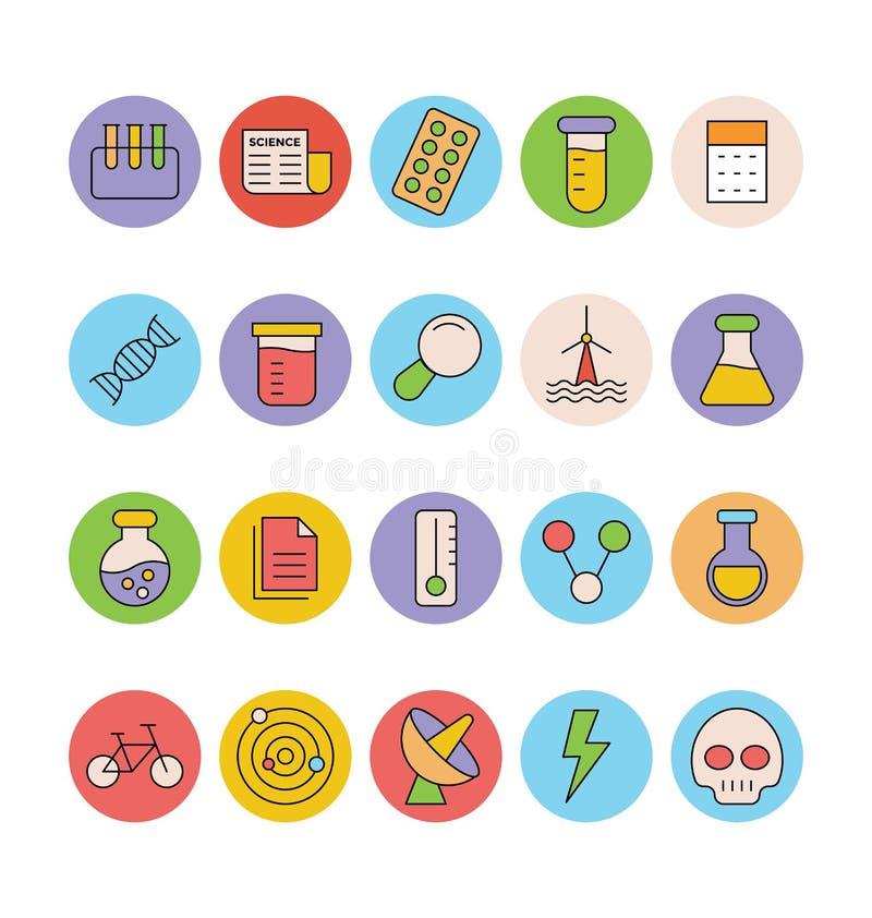 Значки покрашенные наукой и техникой вектора 5 бесплатная иллюстрация