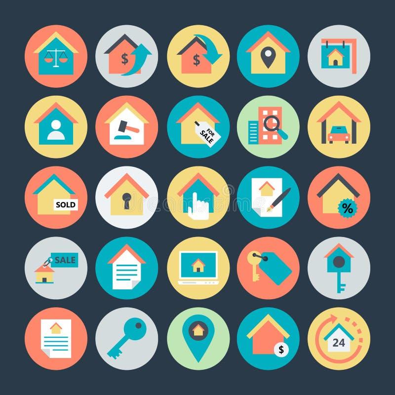 Значки покрашенные недвижимостью вектора 2 бесплатная иллюстрация