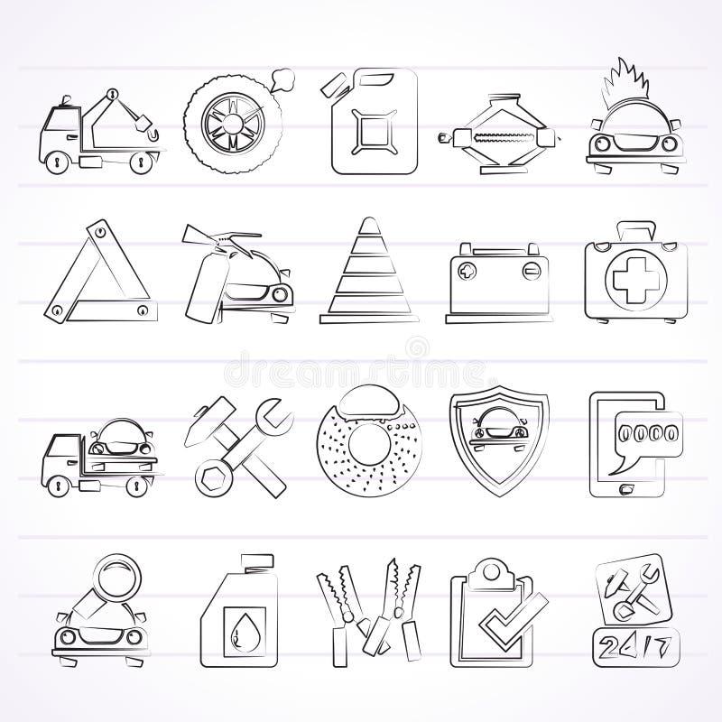 Значки помощи и кудели обочины иллюстрация вектора