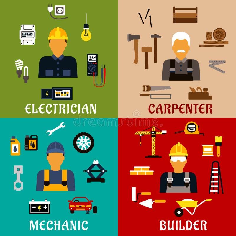 Значки построителя, электрика, механика и плотника бесплатная иллюстрация