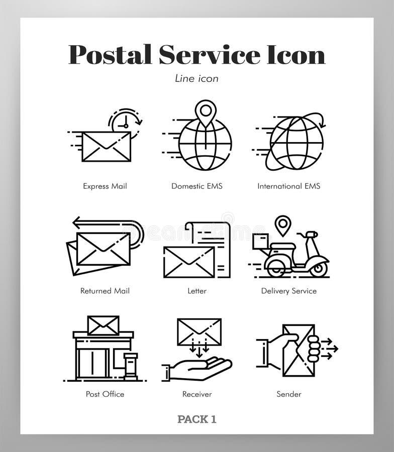 Значки почтовой службы выравнивают пакет иллюстрация штока