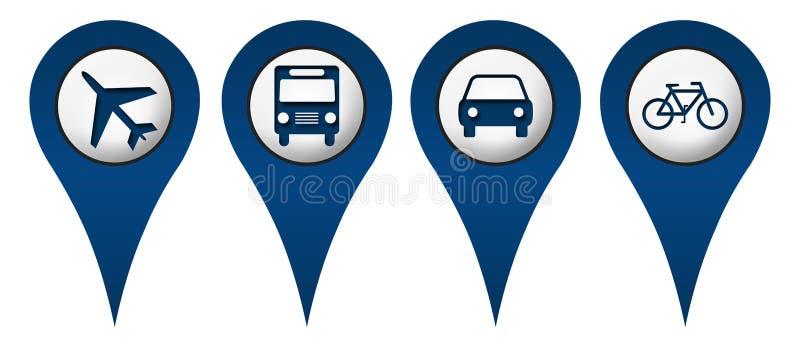 Значки положения автомобиля шины цикла плоские иллюстрация штока