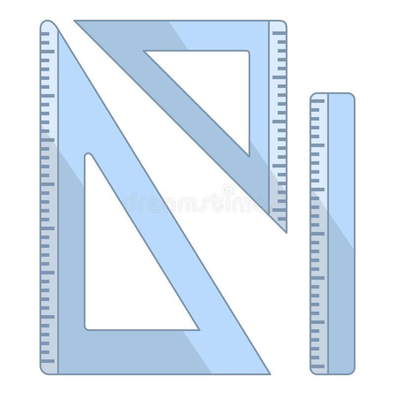 Значки правителя и треугольников плоские на белизне иллюстрация штока