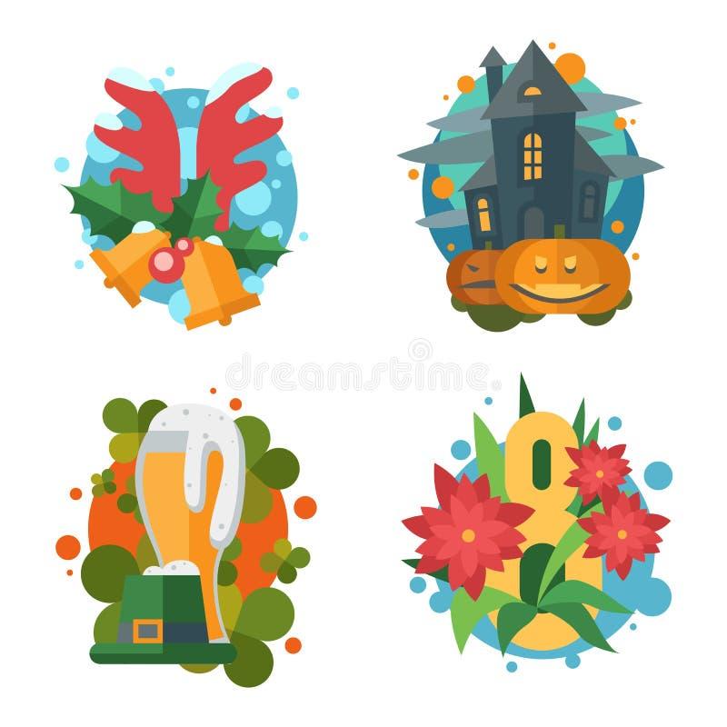 Download Значки праздников вектора плоские в ретро стиле Иллюстрация вектора - иллюстрации насчитывающей жуков, ирландско: 81802407