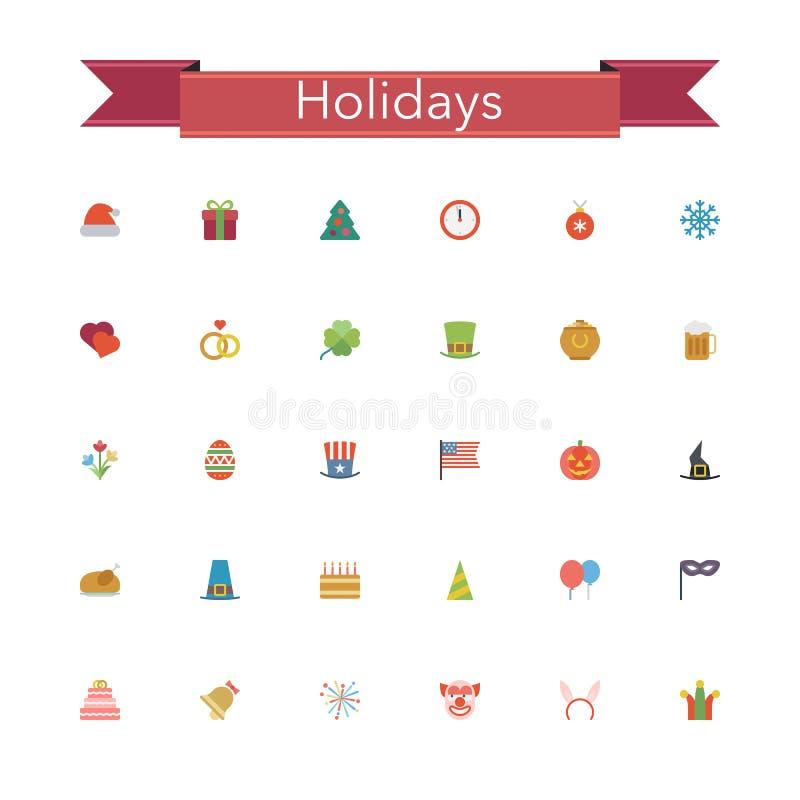 Значки праздников плоские иллюстрация штока